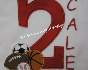 Boutique Custom Personalized Birthday Sport Number Shirt Boys Girls Name