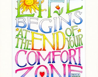 Inspirational quote lettered in ink and watercolor and matted to fit your 8 x 10 frame