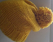 Women's slouchy handknit hat - merino wool - lilac or yellow with pompom