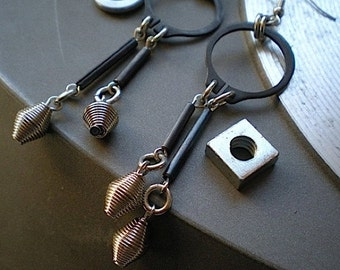 Wound up - industrial hardware earrings