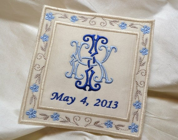 SOMETHING BLUE Custom Embroidered Wedding Dress Label French Silk Satin, Navy Blue, Champagne, Cream and Light Blue