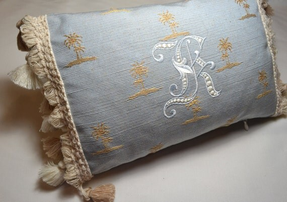 Custom Embroidered Monogram Pillow Made in America - ANY LETTER