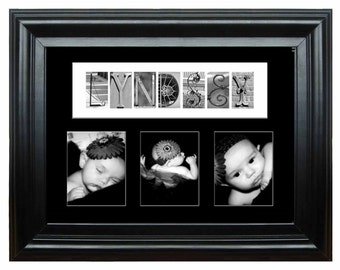 """16""""x20"""" Personalized  Baby  Mat with 3- 5""""x7"""" openings Architectural Letter Art"""