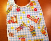 Easter Cute Critters  Baby Bib - Bunnies and Chicks at Play - Blue and White Gingham - Cotton and Chenille