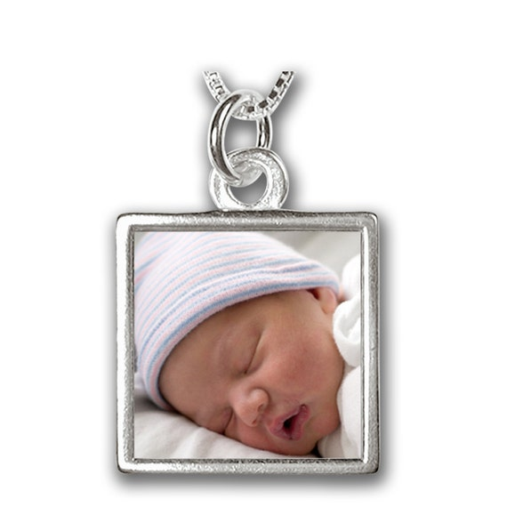 "Birth Announcement Necklace - Custom Photo and Engraved Message Necklace for a New Mom - Medium Size (3/4"")"