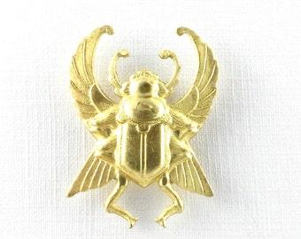 1 large SCARAB beetle raw brass pendant.  35mm x 25mm (FF12). Please read description