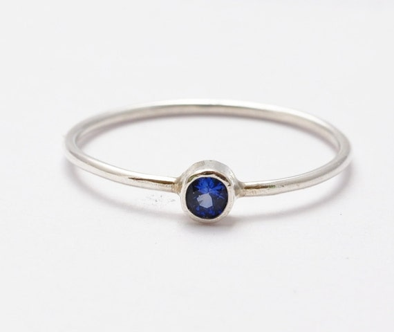 Sapphire Stacking Ring Silver Blue Skinny Thin by BlueRidgeNotions