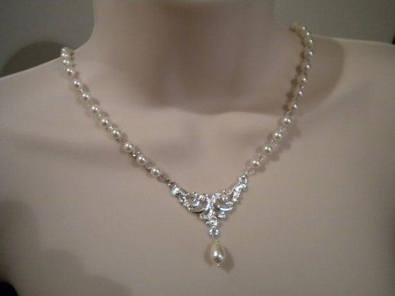 Vintage style pearl and swarovski crystal bridal necklace teardrop pearl - Carmen