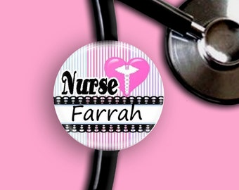Nurse Stethoscope ID Tag, Custom Nurse Stethoscope Name Tag, Retractable ID Badge Reel, Nurses Badge Reel, Cute Badge Reel,ID Badge Holder