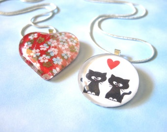 Gifted to Alison Sweeney by BKD Signature -  Falling White Flowers During Sunset Heart Pendant Necklace & Kitties in Love Circle Pendant