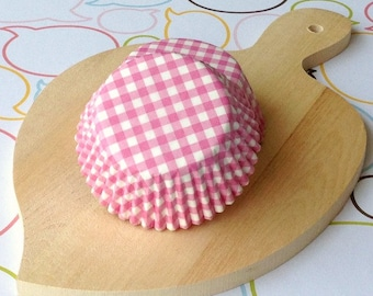 Pink Gingham Standard Cupcake Liners