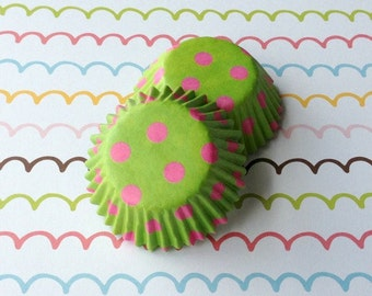 SALE - Mini Polka Dots Cupcake Liners - Lime/Pink