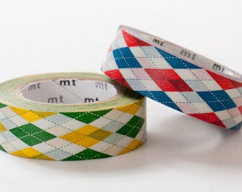 mt Washi Masking Tape - Argyle in Green & Red - Set 2