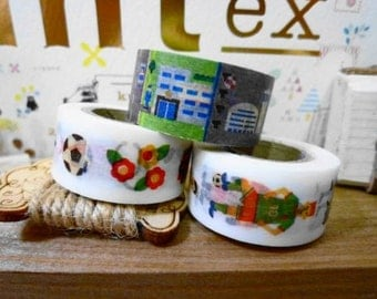mt for kids Washi Masking Tape - People, Places & Transport - Limited Edition - Set 3