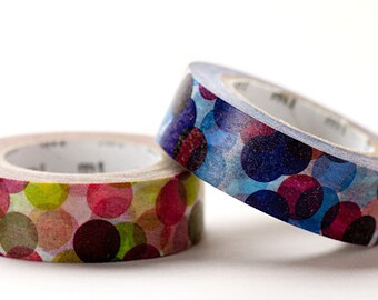 mt Washi Masking Tape - Colourful Spots in Blue & Wine Red - Set 2