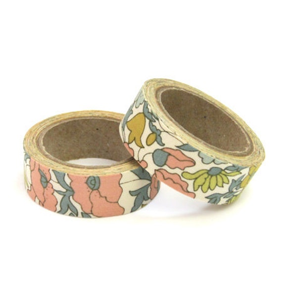 Liberty of London Fabric Masking Tape - Poppy & Daisy in Beige - Set 2