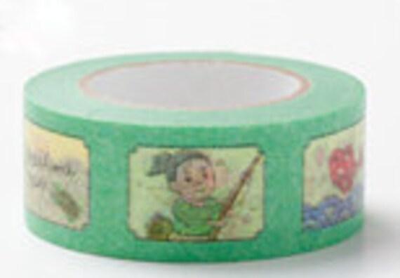 Colte Washi Masking Tape - Urashima Taro in Green - Fairy Tale