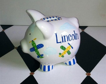 Personalized Piggy Bank Airplane Design Size Piglet