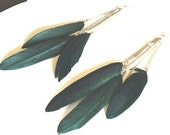 Dark green feather and chain dangle earrings CLEARANCE