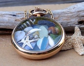 Sea Glass Pocket Watch Case Antique Gold Filled 1890s  Time at Sea