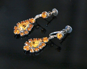 Vintage Rhinestone Earrings, Autumn Rhinestones, Tear Drop Styling, Excellent Condition