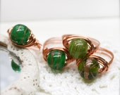 PIF glass beads wire wrapped ring - size 9.5 only