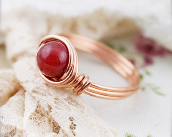 Hongyu Dyed Chinese white jade wire wrapped ring (SR)