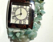 Altered Art  BRACELET Watch Jade Natural Chips and Quartz Watch 3 STRAND  Bracelet Working and New Battery  On SaLe Now