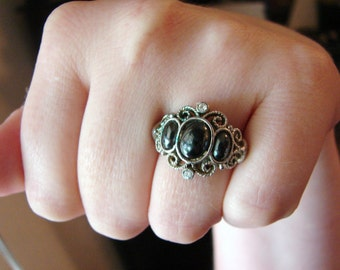 Vintage nouveau style scroll silver ring with charcoal gray oval stones and clear crystals- adjustable sizes