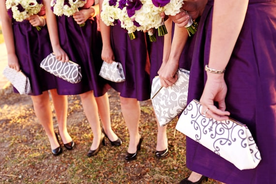 Silver Bridesmaids bag Handbag Clutch- Custom Design your Own Bridesmaids Gift in various colors and patterns