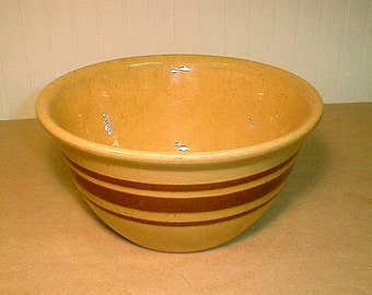 Vintage Yellow Ware  Bowl Brown Slip Bands Medium Size Pottery Mixing Bowl