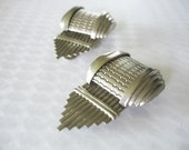 Dress Shoe Clips Art Deco Angled Silver Plated Circa 1920's-30's
