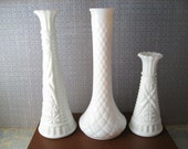Milk Glass Vase Set of Three