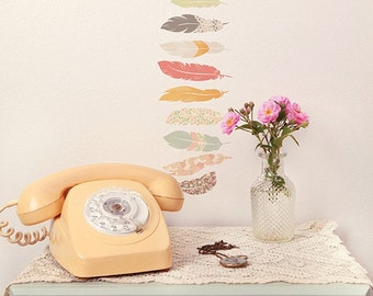 Mini Fabric Wall Decal - Floating Feathers (reusable) NO PVC