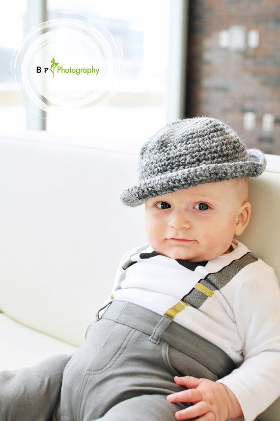 Baby  Fedora Hat  3 to 6 Month Size, Photo Prop