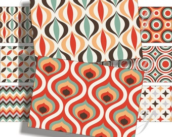 Groovy patterns images for cards, ACEO, scrapbook and more Digital Collage Sheet 3 X 2 inch No.1133