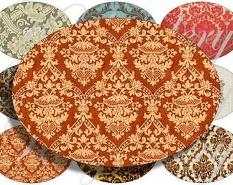 Damask pattern images large oval for belt buckle and more digital collage sheet No.1151