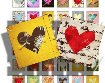 Crazy hearts 1x1 inch for pendant, scrapbook and more Digital Collage Sheet No.1213