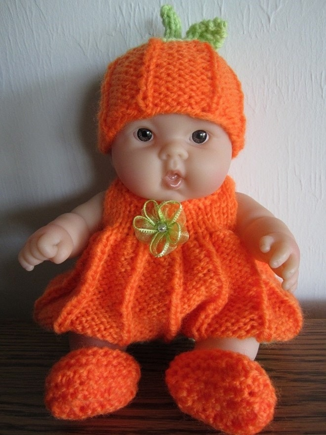 Berenguer Baby Doll Knit Pattern Pumpkin Romper Set for 8 inch