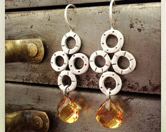 Sterling Silver Earrings with Citrine-Rose Cut Briolettes