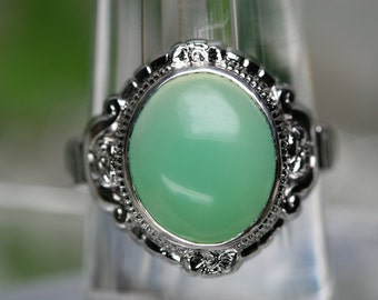 Sterling and Green Stone Cabochon Ring - Vintage Clark and Coombs Setting with New Stone