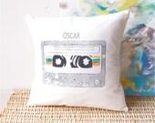 Customisable Retro cassette tape bright modern pillow