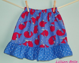 Lillian Belle Girls Ruffle Skirt Blue with Red Polka Dot Whales- Custom Size 6M 12M 18M 2T 3T 4T 5 6