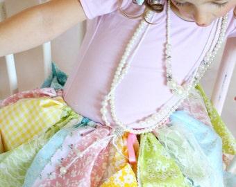 Fabric Tutu Scrap Skirt Pink Yellow Green and Blue Size Newborn to 4T