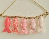 Custom Listing- Five Pink Fish Wall Decor
