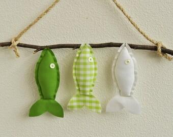 Custom Three Wish Fish in Green - Nursery Wall Decor - Child's Room Fish Art
