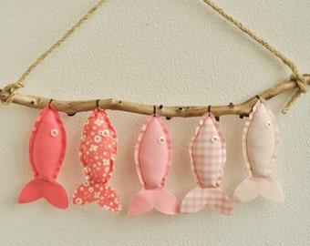 Custom Five Pink Hanging Fish - Nursery Wall Decor - Child's Room Fish Art