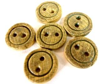 Six Handmade Stoneware Tan Buttons
