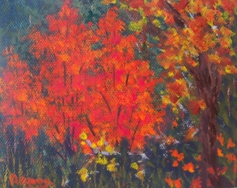 Fall Autumn Painting 4x5 Leaves Bushes Acrylic Art Red Orange Gold Green OOAK