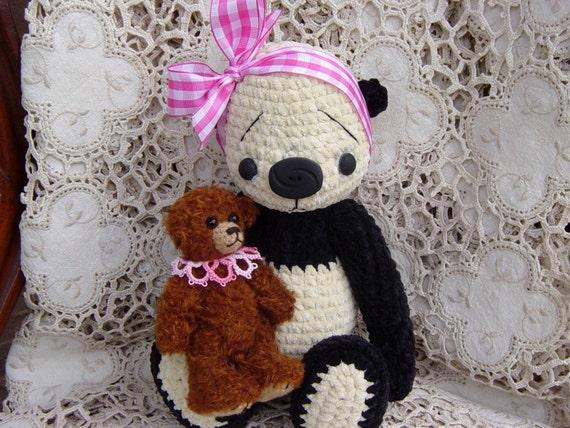 Artist Bear Panda thread crocheted OOAK Teddy Bear set